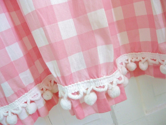 Tickled Pink... Vintage Pink and White Gingham with White Pom Pom Fringe Trim Curtain Drape Panels Cafe Curtains and Valences