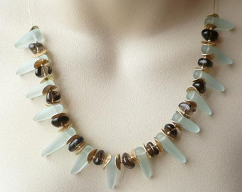 Light Aqua Glass And Smokey Quartz Beaded Necklace