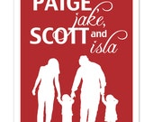 personalized family Silhouette Print / you choose colors & silhouettes