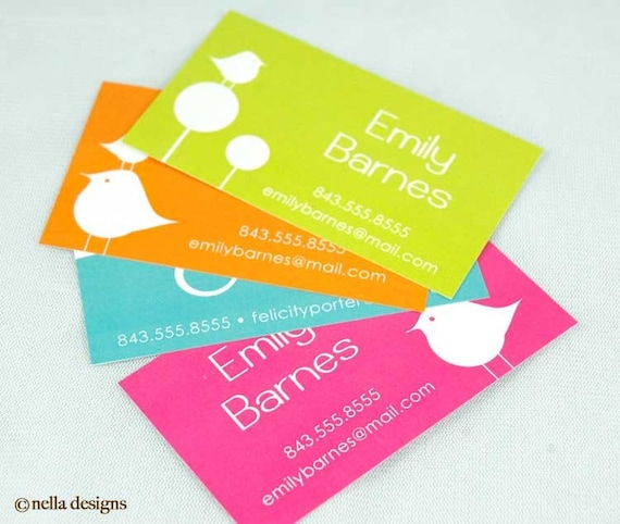 Crazy Bird Calling Cards\/Business Cards MULTIPLE COLORS
