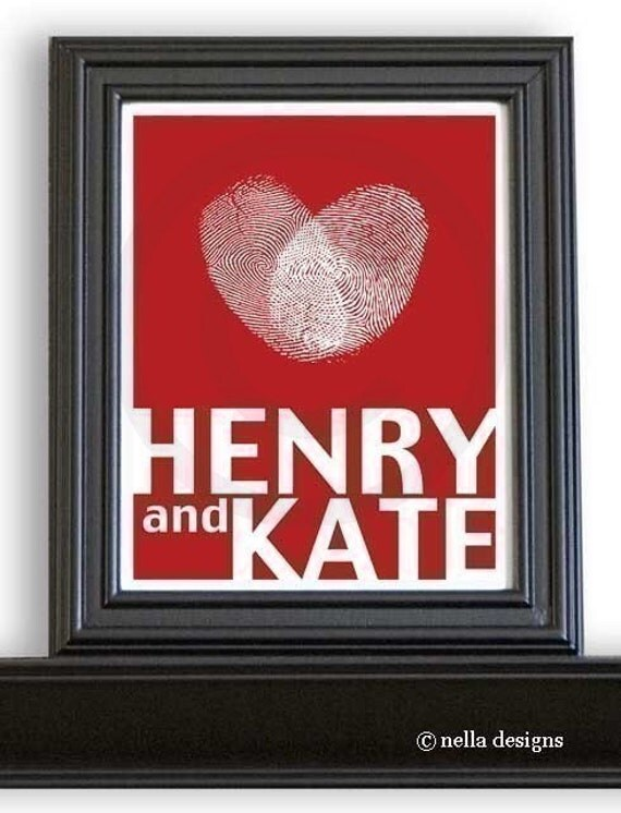 Large 11x14 Personalized Love Silhouette Art Print with date