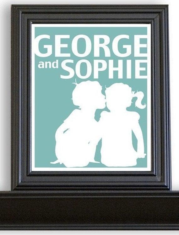 Custom Personalized Silhouette Children's Print