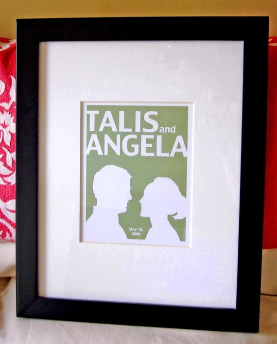 Custom Couple Silhouette Print with date (available also with your own personal silhouette)