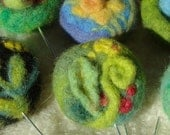 Felted Brooch - Woodsy Carpet Stickpin