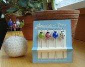 Decorative Pins - 4 decorative glass lampwork straight pins - ladybugs