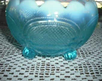 Northwood Aqua Blue Rose Bowl Opalescent
