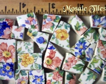 Mosaic Tiles  - - Stunning SPRINGTIME CHINTZ - -  50 Plus Kiln Fired Tiles HM