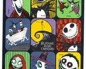 The Nightmare Before Christmas Sticker Sheet Vintage 90's