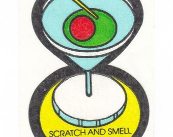 Vintage 80's Mello Smellos Scratch and Sniff Sticker Tiny Martini