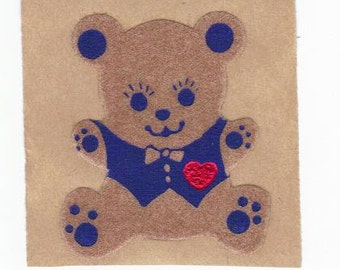 Vintage 80's Personal Expressions FUZZY Brown Bear with Heart Sticker