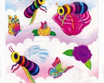 Vintage Lisa Frank Bumble Bees Long Sticker Strip FULL STRIP S327