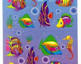 Vintage Lisa Frank Fish Long Sticker Strip FULL STRIP S191-1 Under the Sea