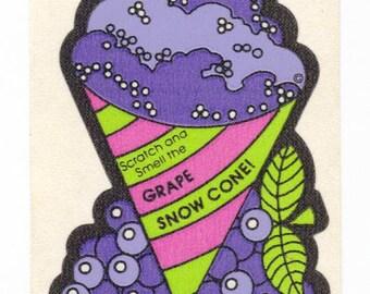 Vintage 80's Mello Smellos Scratch and Sniff Sticker GRAPE Snow Cone S2