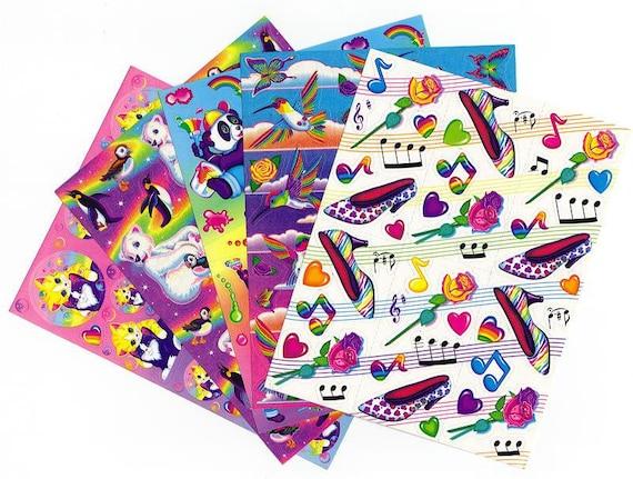 5 Vintage Lisa Frank Sticker Sheets lot set B Kittens Polar Bear Panda Humming Birds High Heels Roses FULL SHEETS