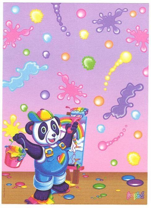 vintage lisa frank panda painter paper set