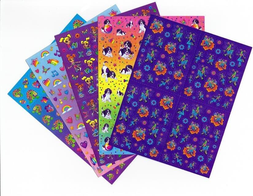5 Vintage Lisa Frank Sticker Sheets Lot Set By