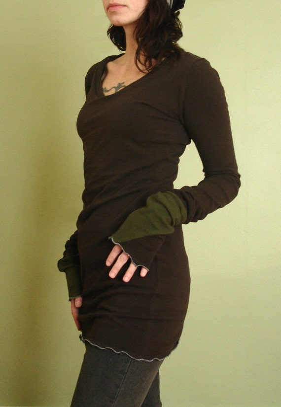 tunic top/ scoop neckline/extra long sleeves  Chocolate Brown and Olive