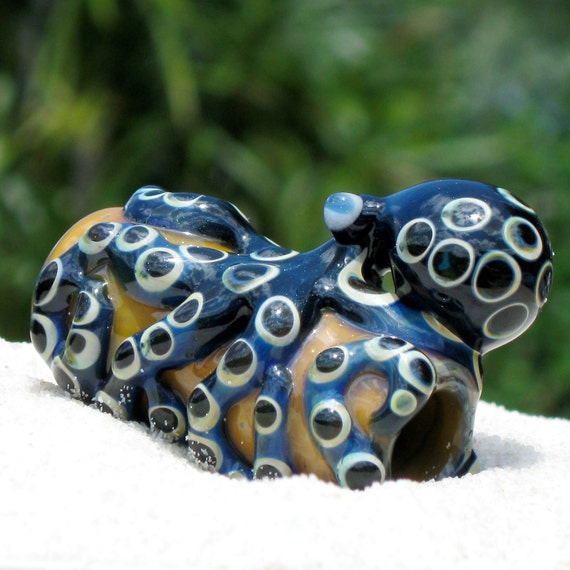 Octopus Dread Bead Large Blown Glass, Free U.S. Shipping