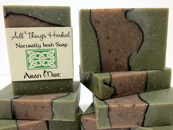 Patchouli Mint (Irish Aran Mist) Handmade Soap - Patchouli Mint Natural Soap, handcrafted earthy minty Irish soap