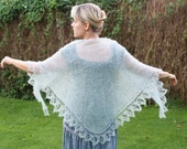 RESERVED FOR LISSA - Minty Green Marvel Shawl in Super Soft Kid Mohair Wool