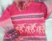 Girls' Sweater in Thick Wool - Unicorn Romp