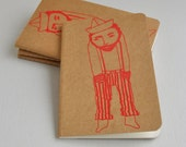 Le Solitaire moleskine journal -  gocco screen printed - (red on kraft cover pocket size)