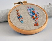 Silver Fishes - original mixed media embroidery hoop art