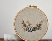 Branch 1 - mixed media embroidery hoop art