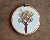 Urban Tree III - embroidery hoop art