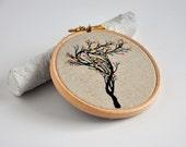 Lace Tree 4 - wall hanging original mixed media artwork - 4''