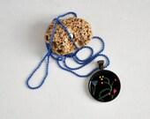 Black Floral art pendant - resin necklace