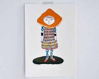 Miscaro Girl - gocco screen print - limited edition