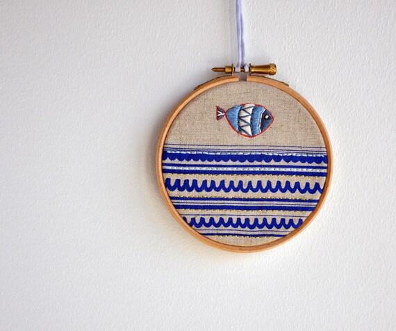 Drop Fish 2 - mixed media Round Dreams - embroidery art & screen print - 4''
