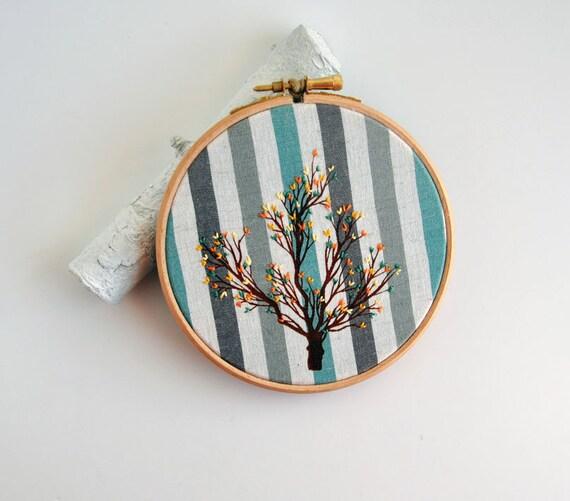 Cuckoo's Tree 1 - original mixed media embroidery hoop