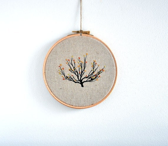 Shrub 4 - embroidery hoop art wall hanging - 6''