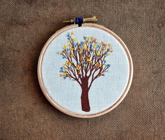 Urban Tree III - embroidery hoop art