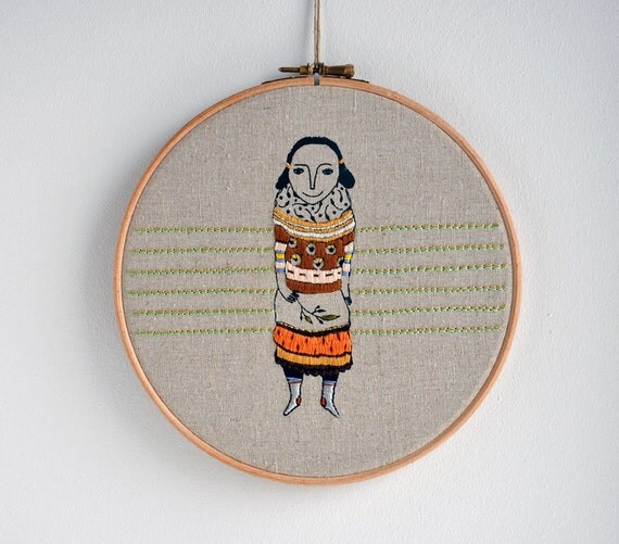 Layer Girl 2 - mixed media embroidery wall hanging hoop art (screen print & hand embroidery)
