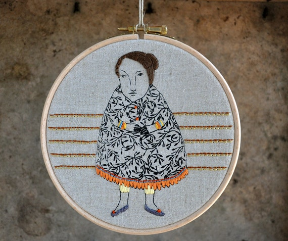 Madame Potato 1 - mixed media embroidery wall hanging - 6 inch