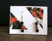 Red and White on Black Japanese paper and onyx earrings - storybeader