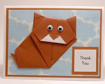 Origami Kitty Thank You Card (brown)