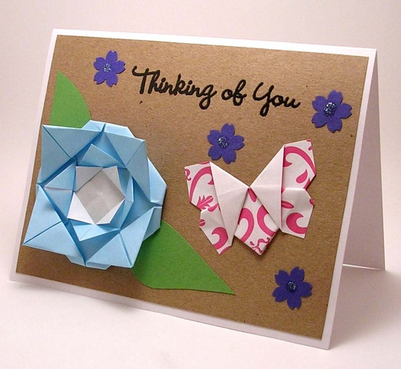 Origami Flower and Butterfly Thinking of You Card (blue)