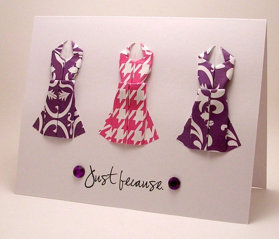 Mini Origami Dress Card (Just Because pink purple)