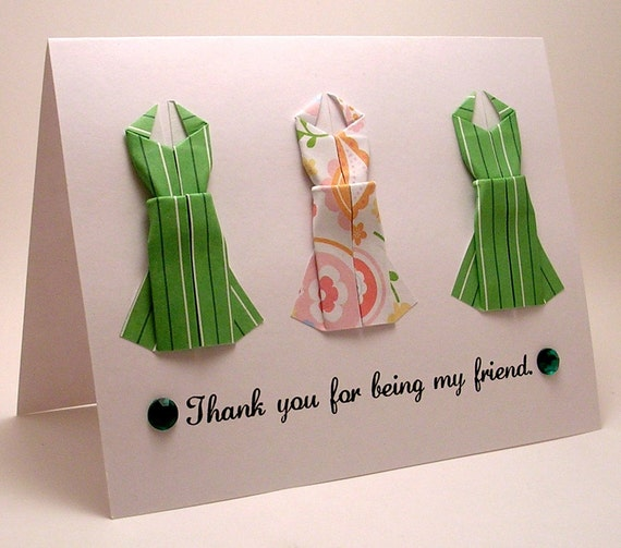 Origami Dress Thank You card (friend green pale pink)
