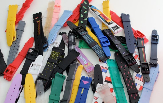 Big Lot of Vintage Plastic Swatch Watch bands