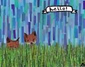 foxes say hello 11x14 print