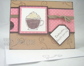 Warm Winter Wishes Hot Cocoa Thinking of you  glitter card