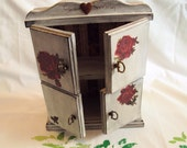 """Shabby Chic Wood Mini Cabinet Decoupage Roses Distressed Recycled  10"""" x 8"""" x 3 1/2"""" Shadow Box"""