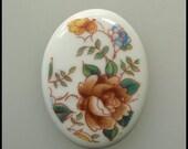 Porcelain Cameo Cabochon Floral Rose