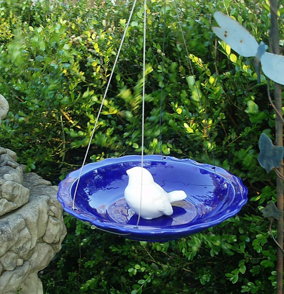 Hanging Ceramic Bird Feeder Cobalt Blue