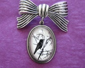 Sale 20% Off // For the Love of Crows Brooch - pendant on bow pin // Coupon Code SALE20